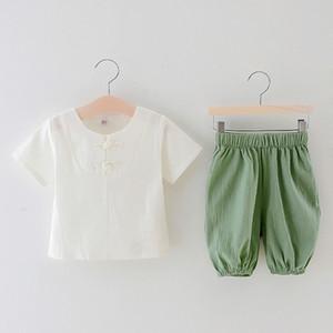 3-8 anni solido cotone di colore e di estate del vestito di linguetta di lino bicchierino-manicotto bambini Hanfu ragazzo stile cinese dei bambini vestito a due pezzi