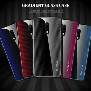 Slim Thin Stripe Carbon Fiber Gradient Tempered Glass Case For Oneplus 7 7 Pro 7T Pro Mi 10 Pro Redmi Note 9S Note8