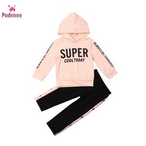 Pudcoco Enfants Bébé Vêtements Automne chaud Sweats à capuche Set de Survêtement manches longues Sweat à capuche Boucle Trackpants Tenues