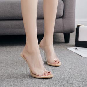Sandalias de mujer transparentes sexy 12 cm zapatos de tacón alto delgados zapatos 2019 tamaño grande 35-42 perspex para mujer mujer mulas pvc peep toe calzado