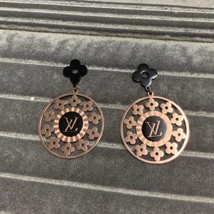 mariage de fleur de luxe bijoux 316L lettre de timbre en or rose 18 carats en acier inoxydable balancent goutte Boucles d'oreilles pour les filles de femmes