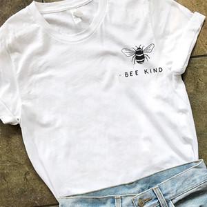 Maglietta con stampa tascabile ape donna Tumblr Tumblr Save The Bees Graphic Tees Donna T-shirt taglie forti Top in cotone O-collo Drop Shipping