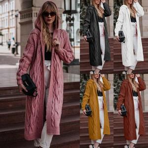 المرأة الخريف هوديي طويل سترة صوفية كنزة كم طويل تويست عارضة معطف الشارع الشهير الأزياء