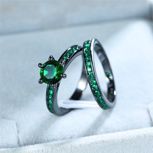 سحر أنثى الأخضر جولة حلقة مجموعة خمر الذهب الأسود الزفاف خواتم الزفاف للنساء وعد الحب سوليتير خاتم الخطوبة