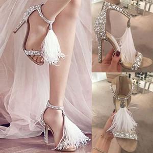 2020 сексуальные перья горный хрусталь сандалии высокие каблуки банкетные свадебные туфли женщин мода кристаллы свадебные туфли с застежкой на молнии шпилька обувь