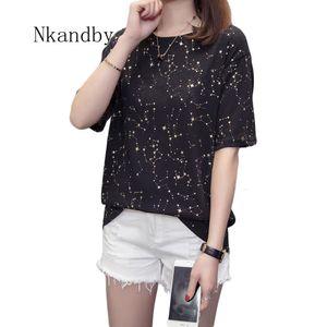 Nkandby del tamaño extra grande de las mujeres T tapas de la camisa 2019 Summer Gold Star Mujer Camiseta Tops 4XL de gran tamaño divertido de manga corta camisetas de las señoras