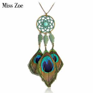 Peacock Dreamcatcher collier avec pendentif Hot Indian style Bohemian Ethnique collier de plumes Vintage Summer BOHO collier pour les femmes