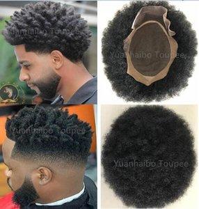 Afro Hair Mono Lace Toupee para jugadores y ventiladores Brasileño Virgen Human Hair Reemplazo Afro Kinky Curl Mens Wig Free Shippinng