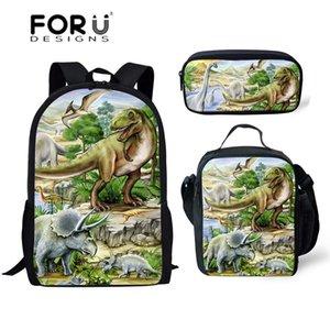 FORUDESIGNS 3pcs School Bags Set for Kids Dino School Bag Children Tyrannosaurus Rex Dinosaur Pattern Schoolbag Boys Cool Bag