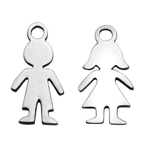 PandaHall 20pc 304 Stainless Steel DIY Charms Boy Girl Silhouette Kid Children Men Women Jewelry Bracelet Necklace Making Figure