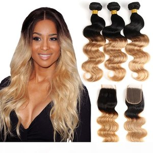 Ombre Body Wave T1B 27# Dark Root Honey Blonde Human Hair Bundles with Lace Closure Colored Brazilian Hair Weave With Closure
