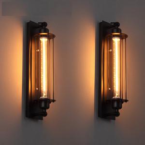 diseño de estilo industrial moderna lámpara de pared de hierro negro American Loft decoración del restaurante pintura LED E27 calienta el tubo ligero luz 220V