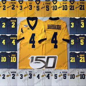 2019 NCAA 150-е Мичиганские Росомахи # 4 Джим Харбо 5 Jabrill Peppers 21 Десмонд Ховард 2 Карло Кемп Джейк Муди Белые темно-синие желтые майки
