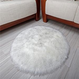 Commercio all'ingrosso Australian Wool Faux tappeto rotondo del diametro 40cm Tappetino peluche Soggiorno Tavolino base d'attaccatura scendiletto può essere personalizzato