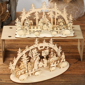 DIY Christmas Tree Wooden Mini Toy 2020 New Year Party Decorations For Home Ornaments Xmas Little Trees Pines Village Noel