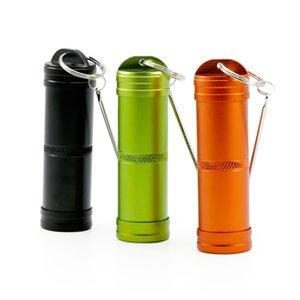 3 Couleurs Portable Eay Carry en alliage d'aluminium des deux côtés ouvert Conteneur Bouteille Porte-clés Style de fumer Boîte de rangement YH-002