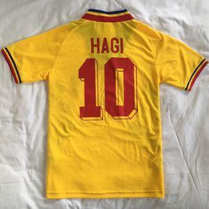 1994 Romania Hagi Retro Vintage Casa Away Thailandia Quality Soccer Jerseys Uniformi Maglie da calcio Camicia Camicia da ricamo Logo Camiseta Futbol