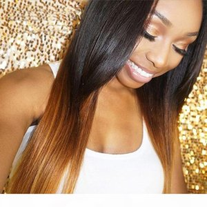 Bythair Glueless Ombre Color Human Hair Wig Straight Middle Part Lace Front Human Hair Wigs with Natural Hairline Full Lace Wigs in Stock