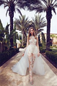 Illusion Jumpsuits Wedding Dresses With Detachable Train Lace Appliques Cap Sleeves Tulle Overskirt With Pocket Wedding Bridal Gowns WD088