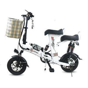 12 pulgadas Mini Scooter eléctrico de dos ruedas adultos 350W 15AH 60KM eléctrica Bicicletas Blanco / Rojo / Negro Electric City bicicleta plegable