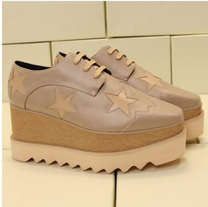 2019 Hot Sale! Stella Mccartney Women Star Platform Shoes Top Quality Calfskin Genuine Leather 7cm Wedge Oxfords Elyse Sneakers mn013