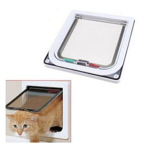 Security Cat Dog Door Control Entrance Exit Pet Hole Mate 4 Way Locking Glass Fitting Flap