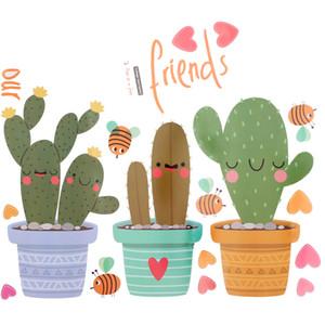Diy olla cultura vinilo etiqueta de la pared planta verde pared ventana calcomanías maceta cactus para sala de estar decoración del hogar D19011702