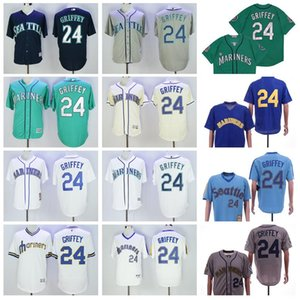 1984 1995 Retire 24 Ken Griffey Jr Vintage Baseball Jersey Flexbase 2016 Cool Base Пуловер Вышивка И Шитье Синий Зеленый Белый Темно Синий