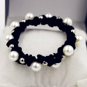 meatball head hair ring size pearl simple basic black does not hurt hair rope tie hair rubber band
