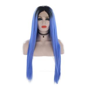 Parrucca da donna di moda Parrucca Ombre Blu Lunga Mano dritta Legata Parrucca anteriore in pizzo sintetico Glueless Fibra resistente al calore Capelli per parrucche da donna