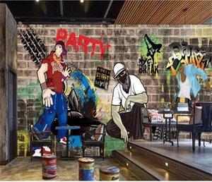 нестандартный размер 3d фото обои гостиной росписи уличного искусства граффити хип-хоп кирпичная стена 3d картина фон обои нетканые стикер