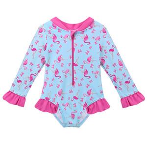 Karikatür Bebek Kız Mayo Petal Uzun Kollu Swan Kızlar Mayo Çocuk Mayo UPF50 + Tek Parça Çocuk Yüzme Suit