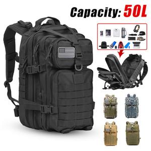 50L grande capacidade Army Men Militar tático mochila 3P Softback impermeável ao ar livre de bugs Mochila Caminhadas Camping Caça Sacos