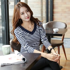 T Shirt Striped Women 2020 Four Seasons New Top Shirts Long Sleeve Tshirt Striped Female T Shirt Womens Tops Tee Shirt Fashion