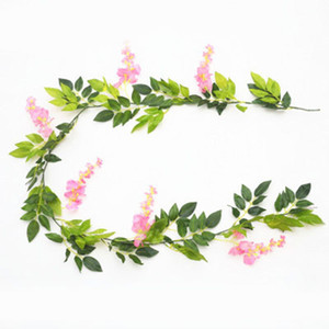2m Flower String Artificial Wisteria Vine Garland Plants Foliage Outdoor Home Trailing Flower Fake Hanging Wall Decor