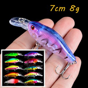 10 Color Crank Hard Baits & Lures 7CM 8G 6# Fishing Hooks Pesca Fishing Tackle KL_32