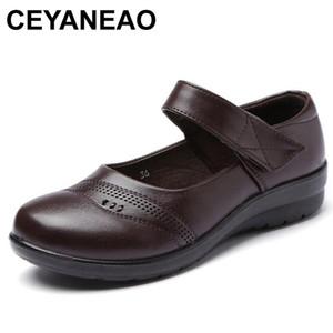 CEYANEAO 2018 Femmes Mary Janes Chaussures Flats en cuir ronde Toe antidérapante en caoutchouc Ballerines Noir Carrière plat ShoesE747