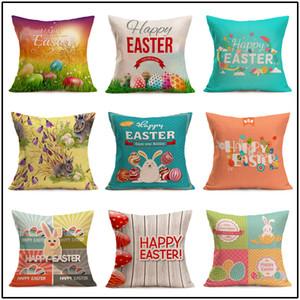 Ostern Leinen Kissenbezug Platz Happy Easter Retro Ei Hase Kaninchen Design Kissenbezug Sofa Auto Kissenbezüge Festival Home Dekore 23