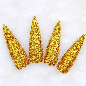 2019 New Golden Glitter Fake Long Nails Witch Gold Powder Nails Adult Finger Pointed Long Nails for Halloween Christmas