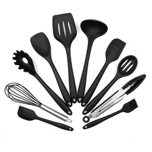 10PCS SET Environmental Safe Silicone Cooking Tools Practical Home Kitchen Dinnerware Tableware Cooking Gadgets Tools
