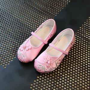 Çiçek Folk-özel Kız Prenses Dans Ayakkabı Yumuşak Alt ile Çocuk Tuval Ayakkabı Çin Style Nakış Ayakkabı