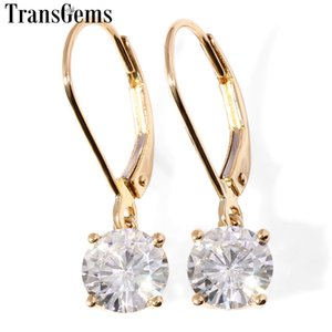 Transgems 14K 585 Yellow Gold Center 2CTW 6.5MM F Color Moissanite Drop Earrings For Women Wedding Gifts Fine Jewelry Y200620