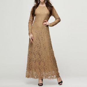 Abaya Jilbab Muslim Maxi Dress Elegant Lace Plus Size Kaftan Long High Waist Vintage Fashion Islamic Clothings Party Robe 2XL