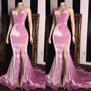 2020 Pink Velvet barato vestidos de noche formal de novia sin espalda fractura del lado Partido Prom Vestidos vestido BC1231