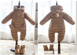 السروال القصير الطفل الوليد طفلة بطة الحراري أسفل الشتاء البدلة الدافئة طفل لطيف مقنع سترة القفز الوليد بوي الملابس