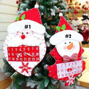 Weihnachtsbaum-Kalender 2 Styles Non-Woven-Weihnachtsmann Schneemann-Countdown Zeitplan Kalender Weihnachtsdekoration 10pcs OOA7279