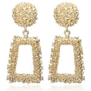 Vintage Newest Fashion Big Geometric Gold Metal Pendant Earrings European Design Drop Earrings Gift For Friend Women