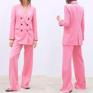 2020 Pembe Çift Breasted Kadınlar Bayanlar Suit Wedding Bride Suits Biçimsel İş Kadınları Artı boyutu Elbise 2 adet Anne