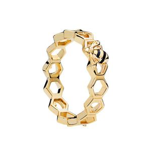 Nuovo arrivo in oro rosa 18 carati scatola originale per pandora 925 gioielli in argento sterling a nido d'ape donne gioielli anello set