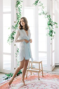 Sheath Women Bath Robes V Neck Sash Poet Long Sleeve Chiffon Bridal Robe Short Bath Robe